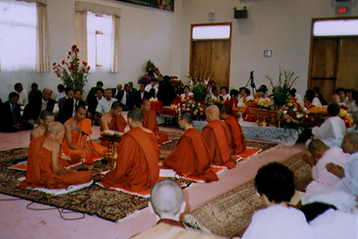 Monks and Laity In the Main Hall at Watt Buddhikarana (Silver Spring, MD)