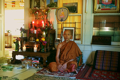 Monk Next to Altar at the Cambodian Buddhist Temple (Houston, TX)