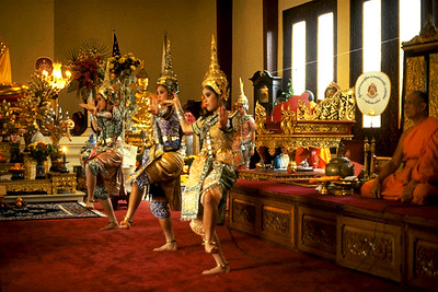 Women Perform a Traditional Thai Dance During the King's Birthday Celebration at Wat Thai (North Hollywood, CA)