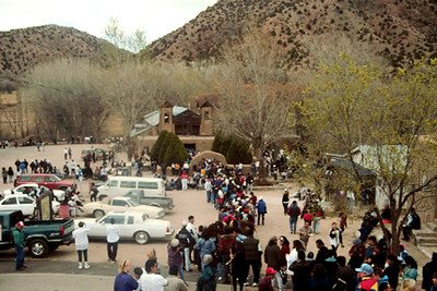Crowds Outside the Adobe Church at Chimayó (Santa Fe, NM)
