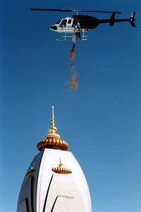 Helicopter Assists With the Dedication of Barsana Dham (Austin, TX)