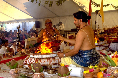 Priest Tends the Yajnashala and Fire Altar at the Consecration of Sri Lakshmi (Ashland, MA)
