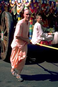 Man Pulls Krishna's Chariot During the Procession (Boston, MA)