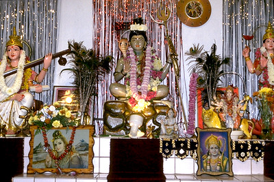 Altar of Shiva Flanked by the Goddesses Durga and Sarasvati at Shiva Mandir (Fort Lauderdale, FL)