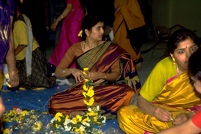 Woman Making a Flower Garland at Sri Lakshmi Temple (Ashland, MA)