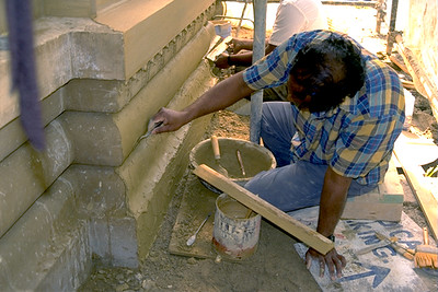 Man Building the Ganesha-Shiva-Durga Temple Complex (Lemont, IL)