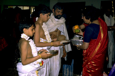 Hindu Boys Undergoing the Rite of Initiation Receive Alms from Their Mothers (Bridgewater, NJ)