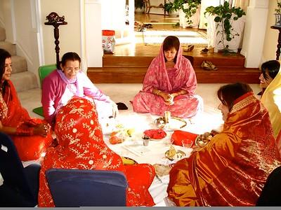 Married Punjabi Women Practicing the Sikh and Hindu Ritual of Karva Chauth (Newport Beach, CA)