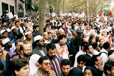 Gathering of American Muslims Showing Support for Bosnia (New York City, NY)