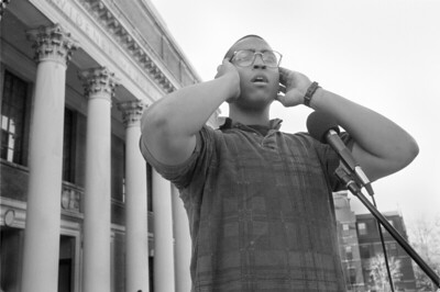 Harvard Student Raqueeb Haque Offers the Call to Prayer on the Steps of Widener Library (Cambridge, MA)