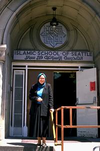 Ann El-Moslimany in Front of the Islamic School of Seattle (Seattle, WA)