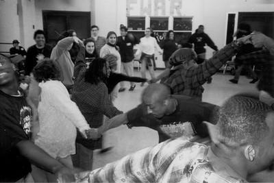 Participants at a Black/Jewish Teen Retreat Perform Israeli Folk Dances (Boston, MA)