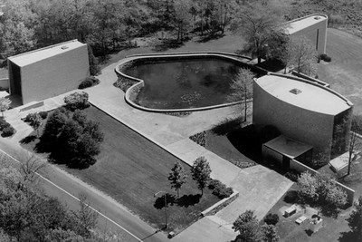 Aerial View of the Jewish, Protestant, and Catholic Chapels at Brandeis University (Waltham, MA)