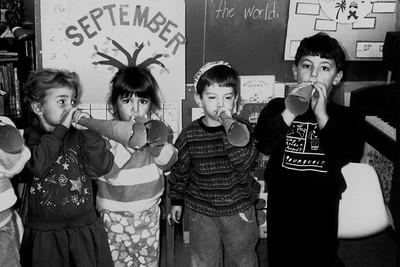 Children Blow Paper Horns to Celebrate Rosh Hashanah (Newton Centre, MA)