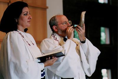 Rabbi Blows the Shofar During Rosh Hashanah Observance