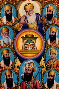 Depiction of the Ten Gurus Surrounding the Guru Granth Sahib