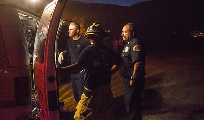 Fire Fighters from stn 53 waiting for mercy to transport patient from off roading accident(By Brandon Barsugli)