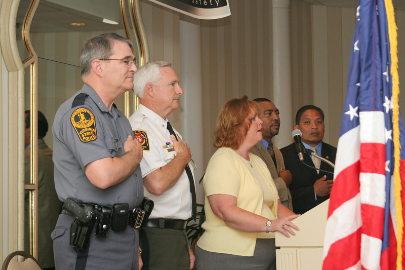 <b>IMG_68203</b><br>L to R: Col. Steve Flaherty, Superintendent, Virginia State Police; Lt. Col. Andy Scruggs, Chesterfield County Police Department; Mary Ann Rayment & David Mosley, Virginia Highway Safety Office; Hon. John Marshall, Secretary of Public Safety.