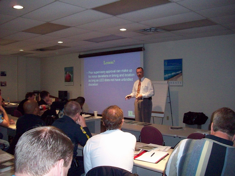 Checkpoint Guidelines Class -- Newport News, April 8th --  22 officers attended.<br /> <br /> The instructor is Mark Neil, Senior Attorney for National Traffic Law Center.