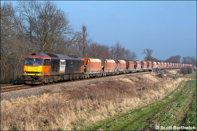 60059 'Swinden Dalesman' nears Rotherby on 28/01/2006 with 6H55 1003 Bletchley RMC Sdgs-Peak Forest aggregate etys. The train was diverted away from the Midland Main Line via Corby and Manton Jnct due to engineering works at Market Harborough.