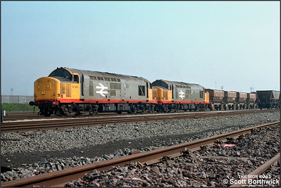 37683+37684 await the road after discharging their load of aggregates from Peak Forest at Washwood Heath RMC on 2x/04/1987.
