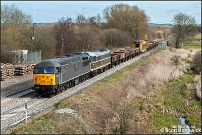 56312 top and tails 31190 at Lea Marston whilst working 6Z42 0923 Chaddesden Sdgs-Eastleigh T&RSMD railvac move on 17/03/2014.