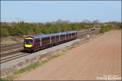 170416 passes Cossington whilst working 5T10 0914 WThFO Nottingham Eastcroft-Leicester driver familiarisation on 22/04/2021 as 66750 heads in the opposite direction working 0Z50 0823 Wellingborough Up TC-Wellingborough Up TC via Toton route learner.