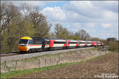 43102/43295 form 5M17 1020 London St Pancras International-London St Pancras International (via Leicester) staff route refresher approaching Rotherby on 12/04/2021. (A lineside solar panel has been digitally removed).