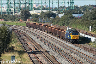 57006 passes Washwood Heath running around an hour late whilst working 6Z95 0604 Cardiff Tidal Sdgs-Shipley scrap metal etys on 09/10/2008.