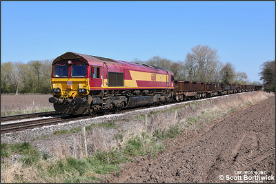 66111 passes East Goscote whilst proving the power for 6V92 1034 Corby BSC-Margam TC on 19/04/2021.