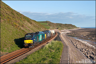 68005+37607 skirt the Cumbrian coast at St Bees whilst working 6C46 1931 Sellafield BNF-Carlisle Kingmoor Sdg DRS on 23/05/2016. The flasks would continue to Seaton on Tees power station the following day.