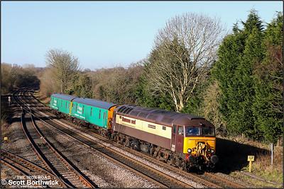 57305 'Northern Princess' passes Hatton whilst working 5O86 0821 Castle Donnington EDMC-Eastleigh Alstom on 06/02/2020.