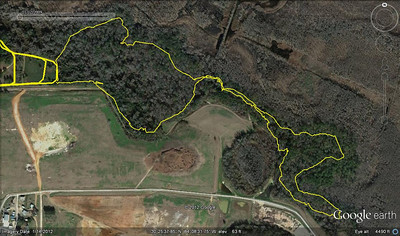 ARP northeast singletrack multi-agency tour 2April12. From this GPS track. 5km/6km cross country course east edge is visible on the left.