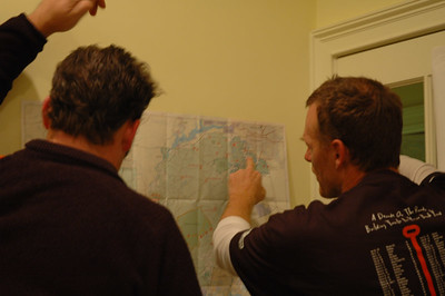 Scot points out to Ryan where we are, what's possible in the future for south Tallahassee bike trail building.