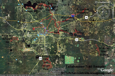 "A selection of Tallahassee area trails. Shows the relation of Munson/TZ (bottom) to some other trails. Includes some ""commute"" tracks."