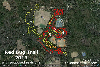 Red Bug Trail (red, from 14 Nov 2011) with yellow Jan 2013 GPS tracks of NTC 1-7, aka proposed New Trail Construction segments 1, 2, 3, 4, 5, 6, and 7. My early favorite, before any ground breaking has occurred: NTC-5. I do not have a clean measurement of the revised total distance. My guess? Closer to 6M than 5M, as little existing trail is marked to be abandoned. Distances depicted in the GPS links vary from a bit short to waaaay short of reality. Map created with Google Earth and GPSVisualizer.