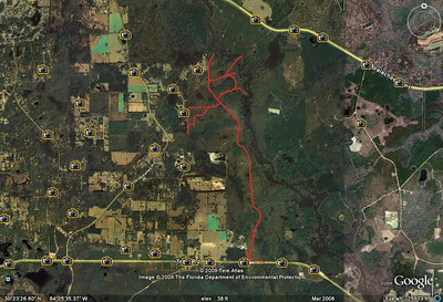 My meanderings from the 7Feb09 workday from this GPS track. Check out the 3 longer spurs top right. They represent a few potential creek crossings.