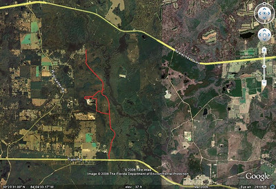 Showing some of the existing multiuse trails from the Tram Road TH (south, bottom) to St. Marks River (north). No bridge is currently available for crossing to/from the US 27 trailhead. Map from this Jan '08 ride. Note this only shows some of the west side of the park. The park is also on the east side of the river.
