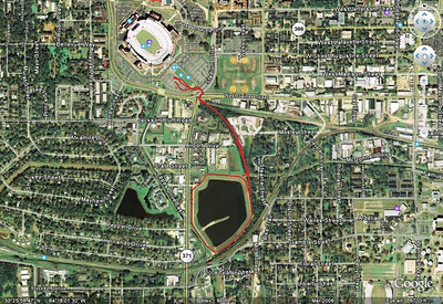 From  http://trail.motionbased.com/trail/activity/6300915 This is a saved jpeg via Google Earth. GPS track of my meanderings from the FSU football parking lot, back and forth through the cleanup area, and around Lake Elberta Park. Load the MotionBased track into Google Earth if you want zoom in-out perspective.