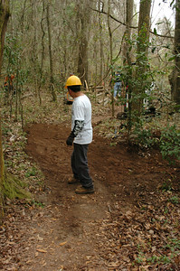 Hector checks some berm and drain work he's done just east of C17.