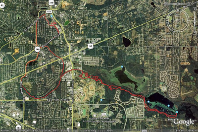 31 Jan '08: Valerie Naylor and I get to do a nice night ride from NE Tally through Fern, Magnolia, and (old) Cadillac Trails. Google Earth jpeg from this GPS track:  http://trail.motionbased.com/trail/activity/4886045