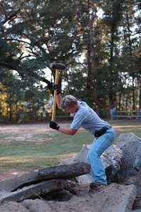 "I'm only surprised that Lisa Cole isn't swinging a 12 pound sledge in each hand. Lisa, you totally ""rock."" (Ok, Lisa claims this was just an 8 pounder.)"