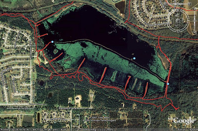 """East Cadillac: Saved GPS .jpg showing all """"Fishing Fingers,"""" both Levees. NOTE that we've now remade nearly all of East Cadillac's singletrack."""