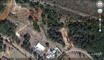 Pandora's Box location at the NW corner of Magnolia Trail. Weems Road is upper left, RR tracks across the top, Red Cross, the animal shelter and Kudzilla (early gps track) along the bottom.