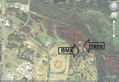 Showing Hans in relation to Tom Brown Park's BMX Track. Red lines are GPS tracks on Magnolia & Goose Pond Trails (center), Fern Trail Connector (upper left), and Cadillac & Lafayette Heritage Trails.