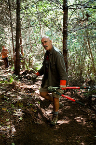 Joe Barcott, NWTA board member 2010 - limbing along new trail at Stub