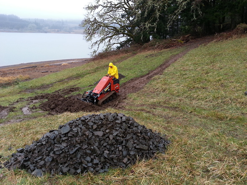 digging a turnpike at Hagg Lake
