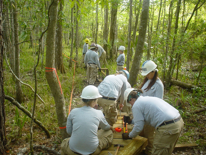 Working on the Americorps crew, St. Marks NWR