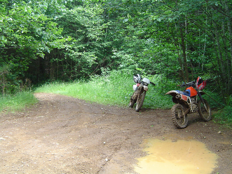 Almost to Porter Creek Campground. Lot's of slippery rutted clay sections to deal with.