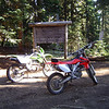 My KLX 400 and Dan's CRF 250x resting nicely at the top of historic Naches Pass.